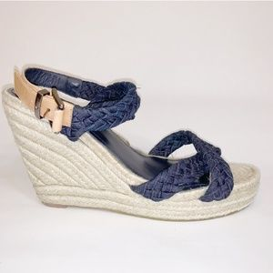 7 for All Mankind wedge denim sandals 10 M